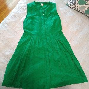 J CREW Kelly Green Eyelet Cotton Shirt Dress Large